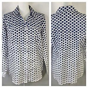 Illusion Print~Polka Dot~V Neck Blouse~Petite~L/S~